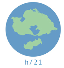 History21 logo, continents on a disk